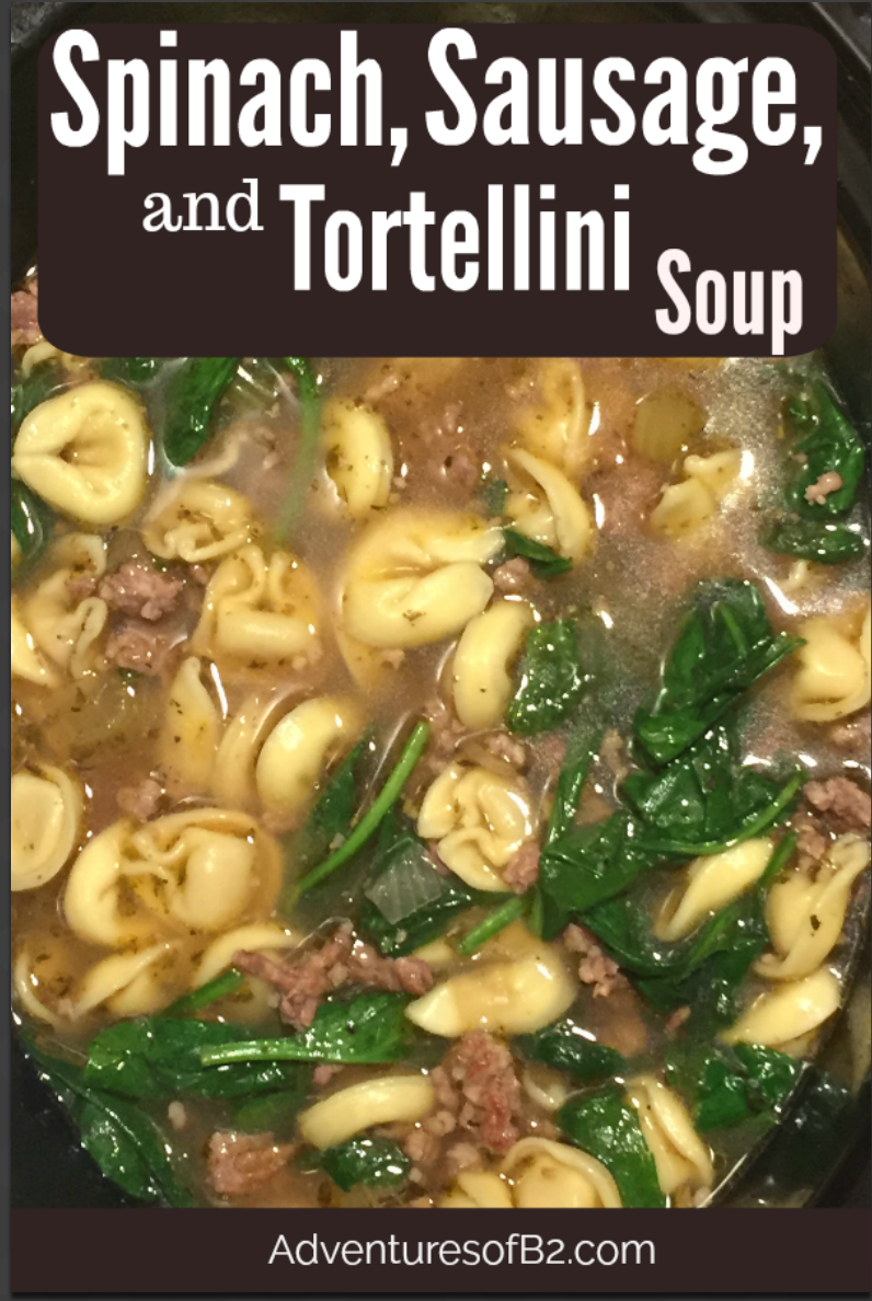 Crockpot Spinach, Sausage and Tortellini Soup