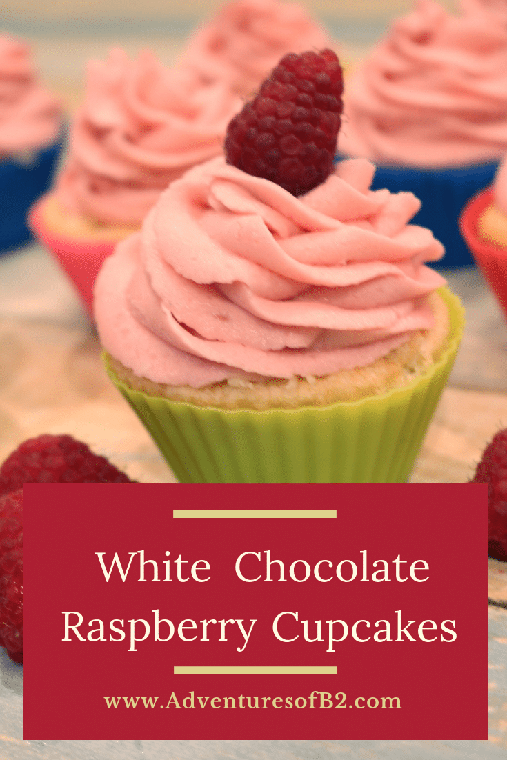 White Chocolate Cupcakes with Raspberry Champagne Buttercream