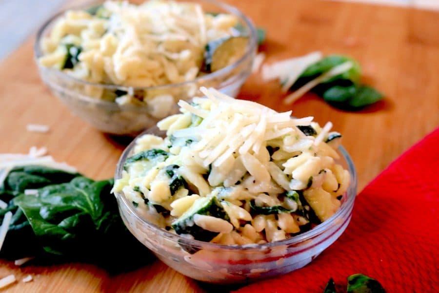 Creamy Zucchini, Spinach, and Parmesan Orzo