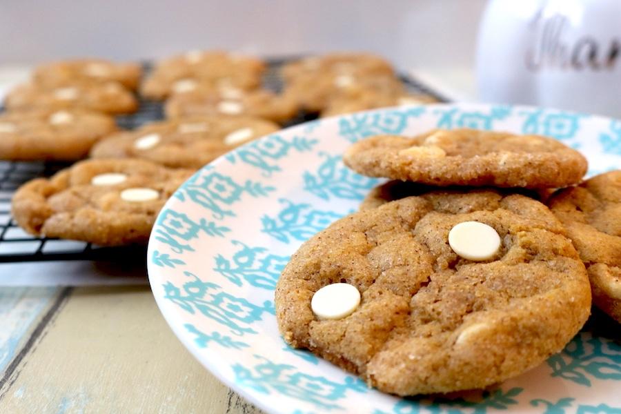 White Chocolate Pumpkin Chai Snickerdoodle Cookies